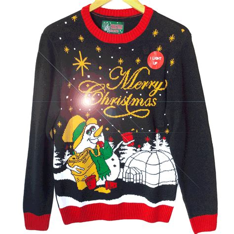 ugly christmas sweater with lights drunken snowman light up tacky ugly christmas sweater