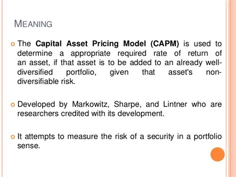Capital Asset Pricing Model Definition capital asset pricing model