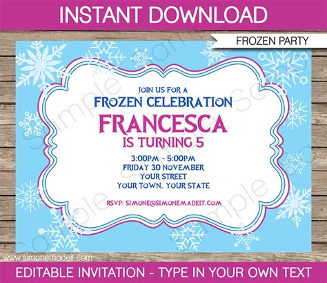 editable birthday invitation cards templates frozen invitation template diy editable frozen invitations