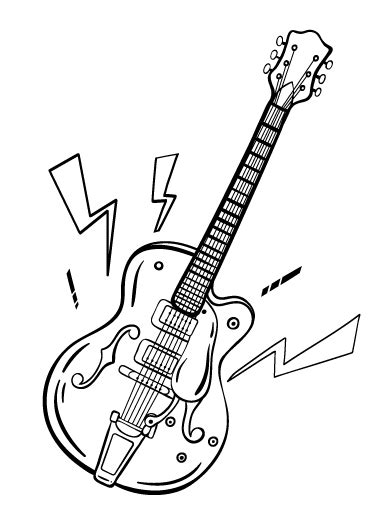 Guitar Coloring Pages With Strings The