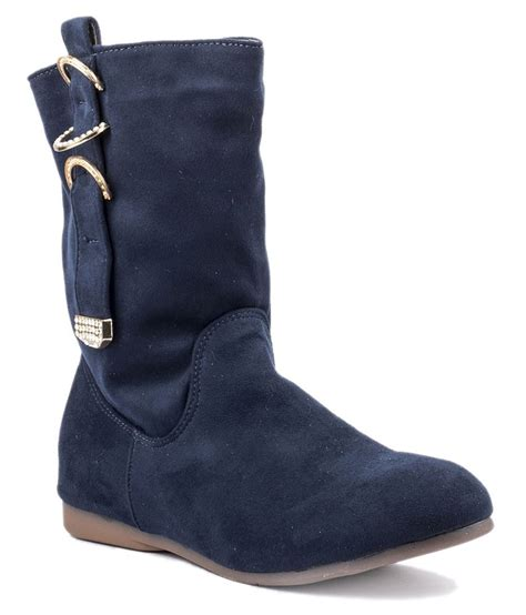 wellworth blue flat slouch boots price in india buy