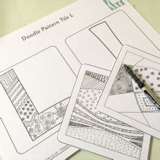 doodle pattern tiles colouring pages for kids from activity village