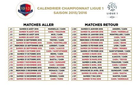 Calendrier Resultat Ligue 1 Horaire Match Ligue 1
