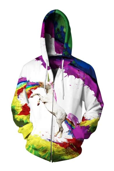 Hoodie 3d Fullprint Rainbow Import 3d rainbow printed unisex sleeve casual zip up hoodie beautifulhalo