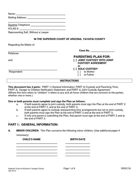 shared parenting plan template best photos of parenting plan forms joint custody