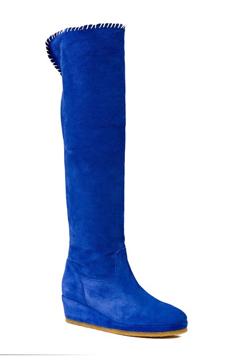 suede boots with wedge royal blue color boots boots