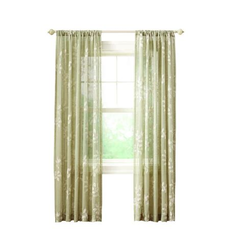 Rod Pocket Curtains Home Decorators Collection Green Leaf Embroidery Rod Pocket Curtain 50 In W X 108 In L