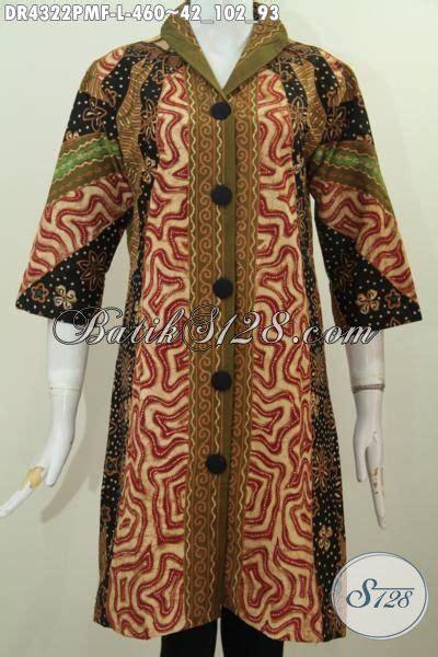 Dress Batik Tulis Halus Coklat Klasik baju dress batik klasik kombinasi tulis pakaian kerja mewah daleman furing tricot kwalitas