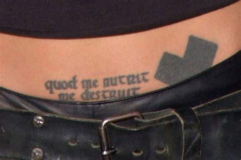 angelina jolie tattoo quod me nutrit angelina jolie hip tattoo