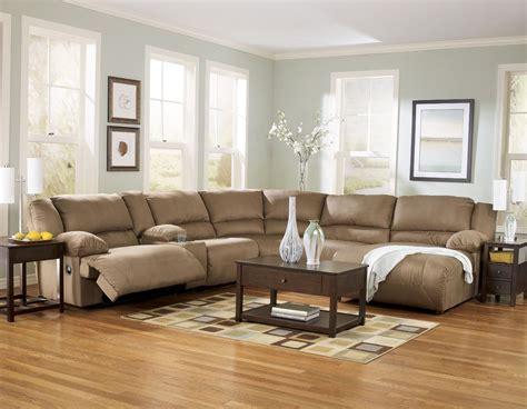 blue sectional sofa decor paint living room warm light