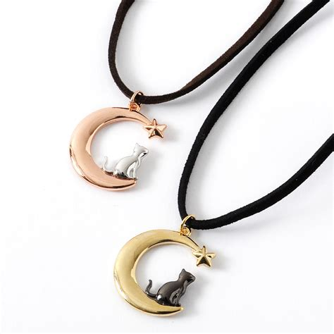 Moon And Cat Necklace osewaya cat crescent moon necklace tokyo otaku mode shop