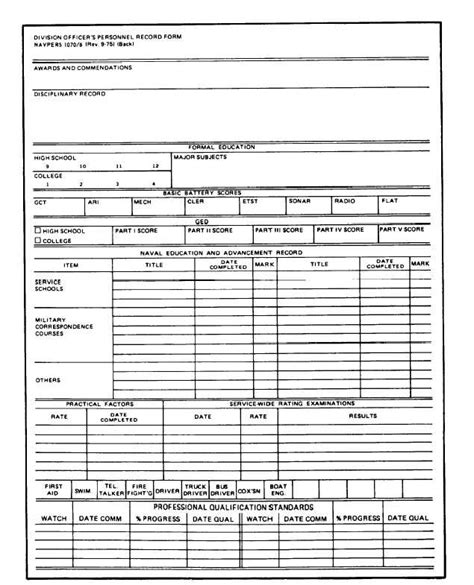 Personal Records Division Officer S Personnel Record Form Continued