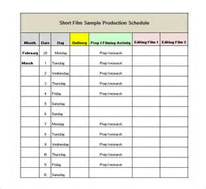 template for a schedule production schedule template 8 free sle exle