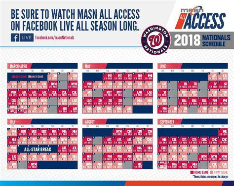 printable schedule washington nationals masn announces 2018 washington nationals broadcast
