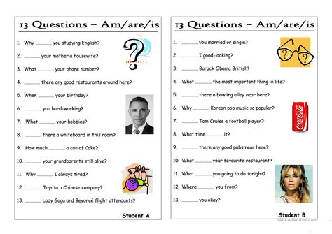 preguntas con is are am 13 questions 0 am are is pair work worksheet free