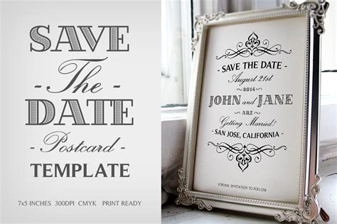 rustic save the date template printable diy wood