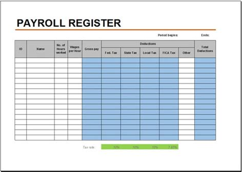 free excel payroll template free payroll register template for excel 2007 2016