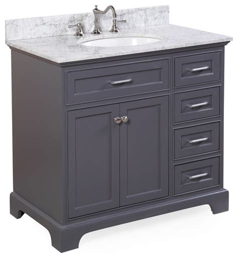 charcoal grey bathroom vanity aria 36 quot bath vanity carrara charcoal gray eclectic bathroom vanities and sink