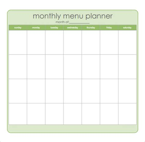 dinner menu planner template search results for monthly meal planner template