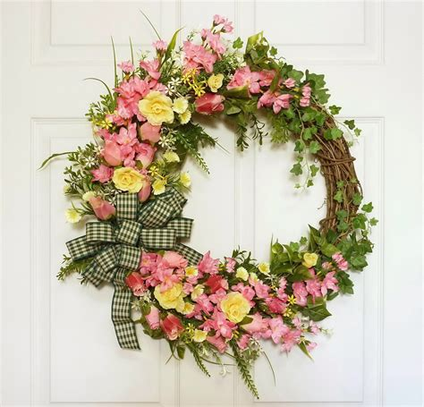 Summer Front Door Wreaths Pink Wreath Summer Wreath Front Door Wreath