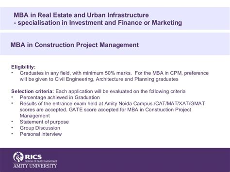 Mba In Construction Management Amity by Rics School Of Built Environment Overview