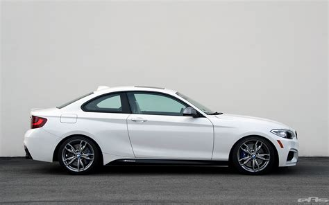 white bmw m235i alpine white m235i gets lowered at european auto source