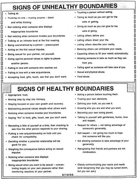 Image result for Healthy Boundaries Worksheet   Healthy