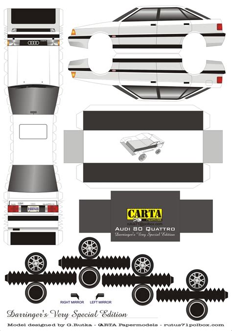 Paper Craft Model - legendary cars paper model audi 90 quattro sedan