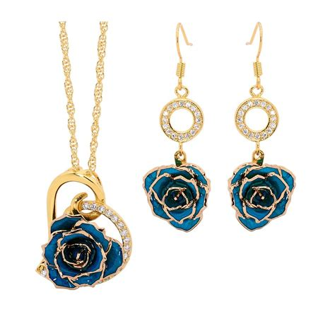 gold jewellery themes blue matching pendant and earring set heart theme 24k gold