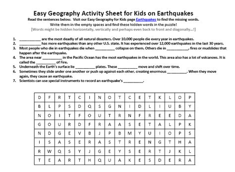 Worksheets On Earthquakes by Worksheets Earthquakes For Worksheets Opossumsoft