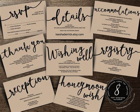 registry enclosure card template wedding insert cards pdf template instant