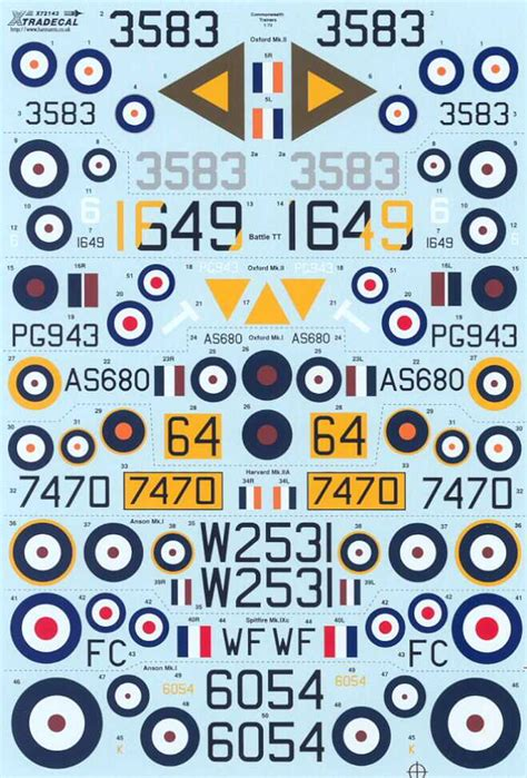 Xtra Decals 1/72 COMMONWEALTH TRAINERS Oxford Anson ... Xtra Decals