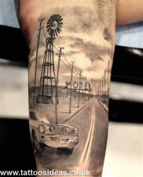 vehicle tattoo designs road car and motel in landscape landscape