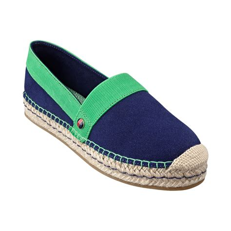 espadrille flat shoes hilfiger womens inez espadrille flats in green navy