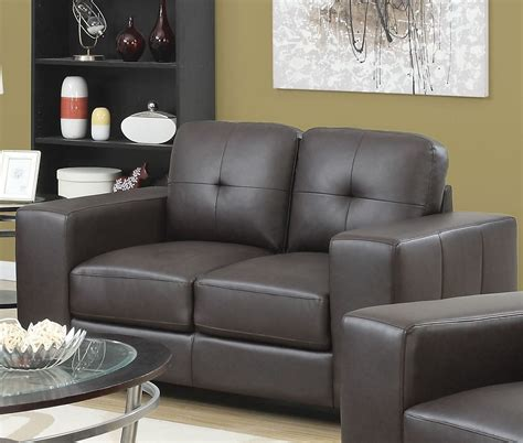 Dark Brown Bonded Leather Living Room Set 8223br Monarch Brown Leather Living Room Set