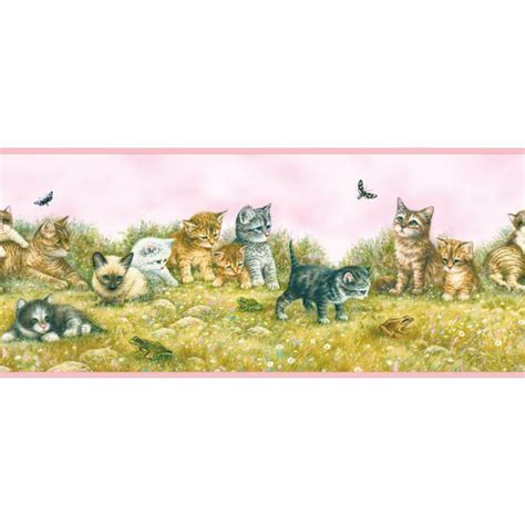 cat wallpaper borders murals kitten kittens and playmates with pink edge cat