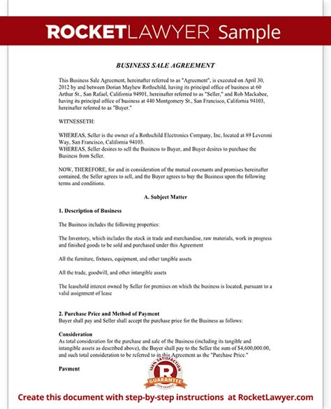 Business Sale Agreement Contract Form With Template Sle Sle Business Contract Template
