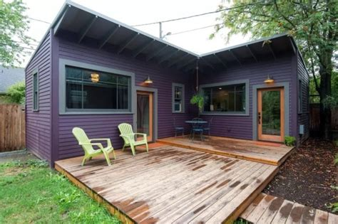 Small Homes That Feel Big This Purple Backyard Cottage Might Be Tiny But It Feels