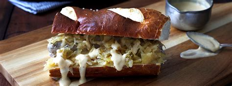 bratwurst sandwich bratwurst and sauerkraut sandwiches with muenster cheese sauce