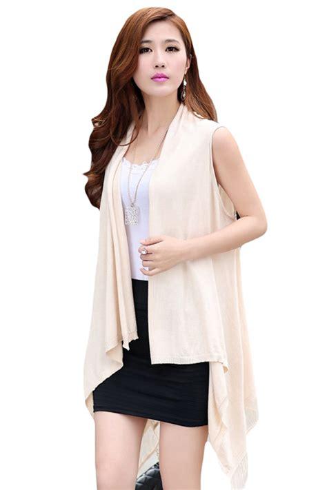 Fringed Hollow Sweater Black White womens fringe hollow out sleeveless cardigan sweater beige