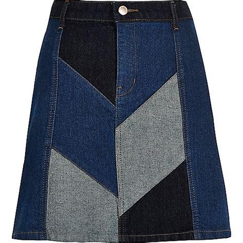 Denim Patchwork Skirt - denim patchwork mini skirt skirts sale