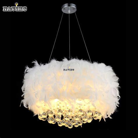 Fluffy Feathers Crystal 3 Light Girls Room Pendant Chrome White Fluffy Lights