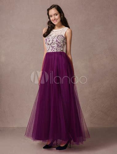 uva colors vestidos de gala de color de uva con escote redondo