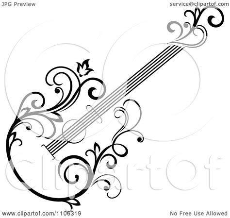 clipart black and white floral guitar 2 royalty free