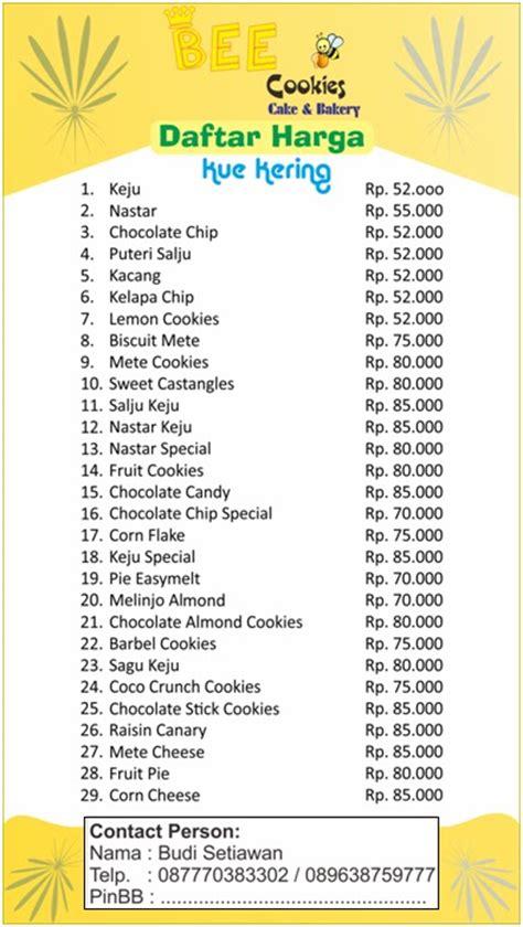 Daftar Timbangan Bahan Kue bee cookies cake bakery daftar harga kue kering