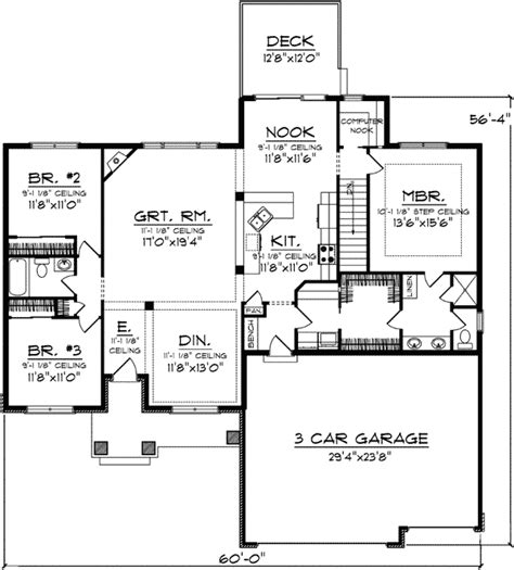 how many square feet is a 3 car garage plan 89793ah one level living computer nook bonus