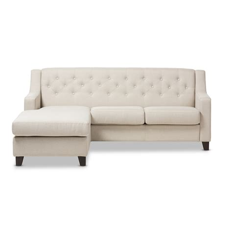 Tufted Sectional Sofa Baxton Studio Arcadia Light Beige Fabric Upholstered Button Tufted 2 Sectional Sofa