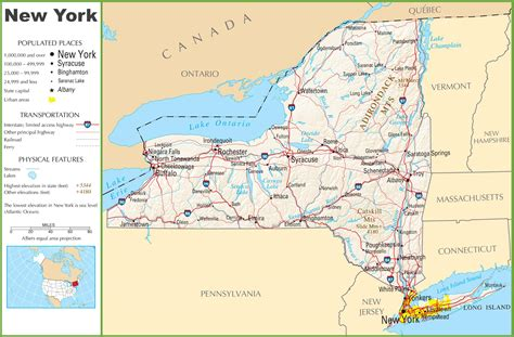 map of the us new york new york highway map