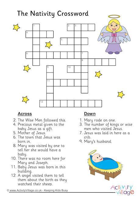 printable nativity puzzle nativity crossword