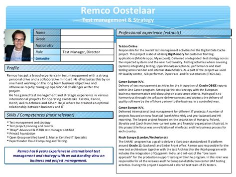 one slide presentation template one pager resume remco oostelaar
